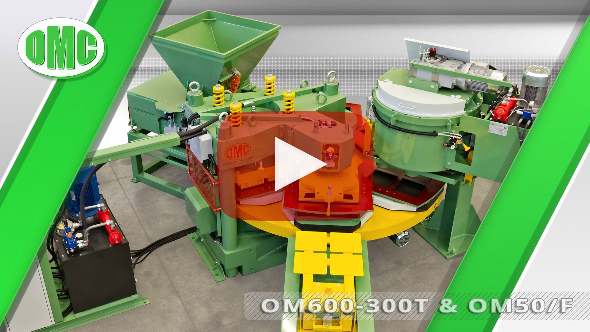 Pressa Rotativa Automatica Mod.OM600-300T con Mod. OM50/F (25x25x4)